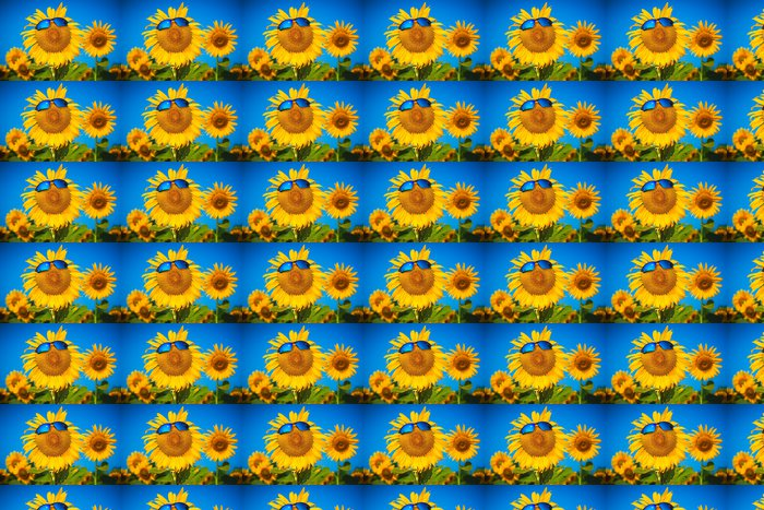 Vinylová Tapeta Žluté slunečnice ve sluneční brýle na modré obloze - Svoboda