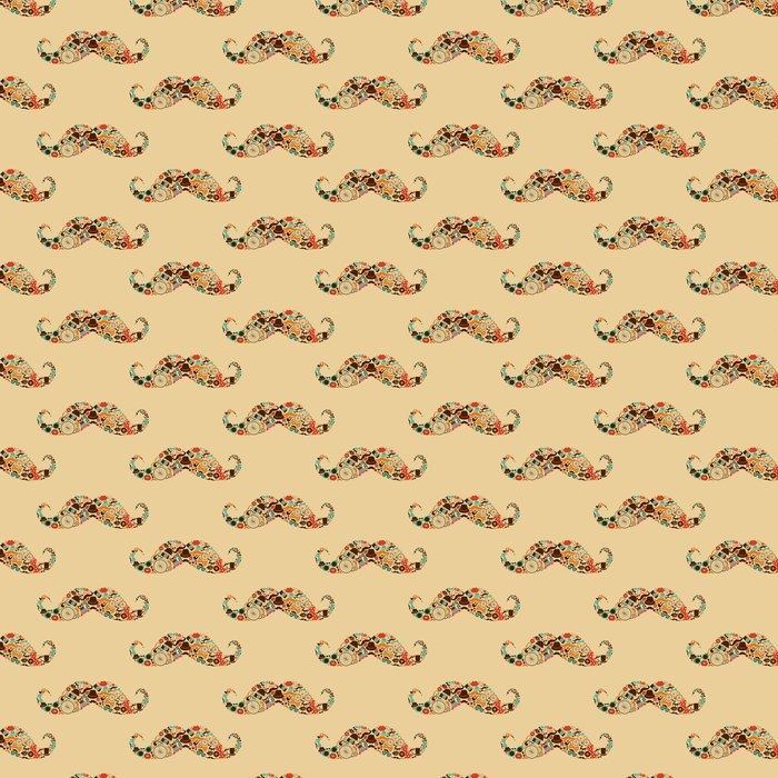 Hipster Mustache Colorful Seamless Pattern Vinyl Wallpaper