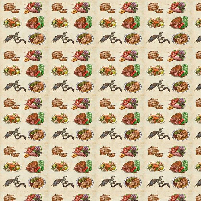Vinylová Tapeta Potraviny ve světě, což ručně kreslenými barevné ilustrace - Jídla