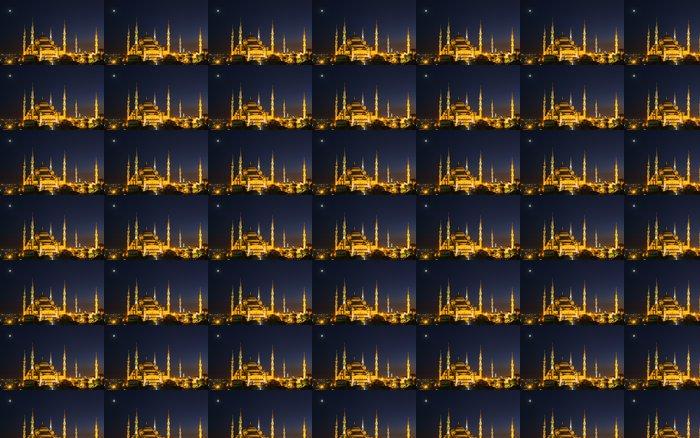 Vinyltapet Blå moskeen i Istanbul, med solnedgang - Offentlige Bygg
