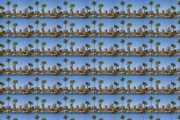 Vinylová Tapeta Long Beach Kalifornie panorama od palem z přístavu - Témata