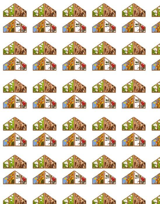 Vinylová Tapeta Trojúhelníková okénka, 4 roční období - Roční období