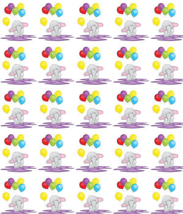 Vinylová Tapeta Slon s balonem - Nálepka na stěny