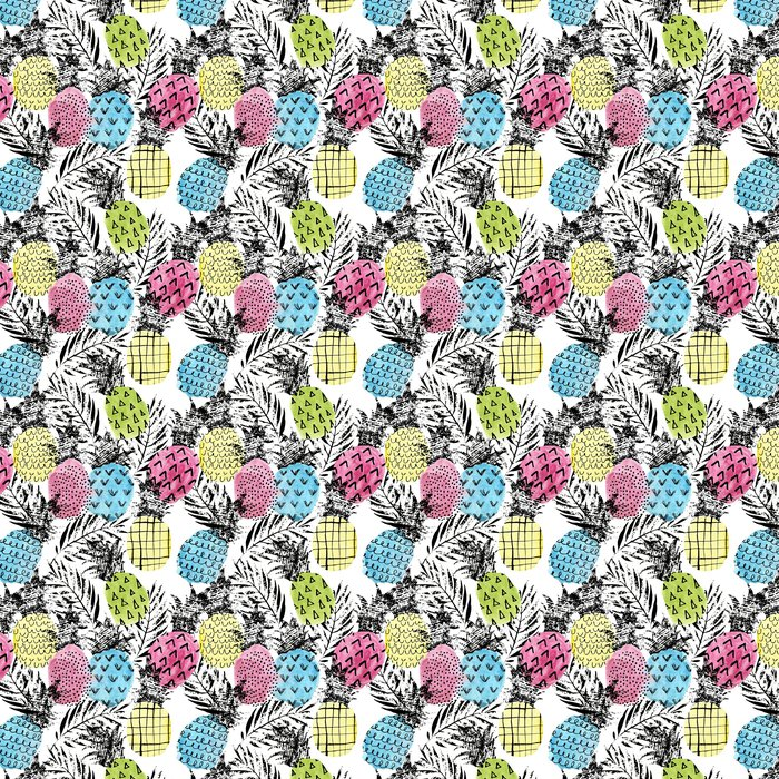 Colorful Pineapple With Watercolor And Grunge Textures Seamless Pattern Vinyl Wallpaper
