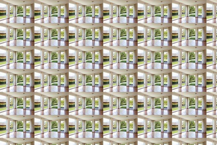 Vinylová Tapeta Pokoj s podlahou terakota,. okna s výhledem do zahrady - Soukromé budovy