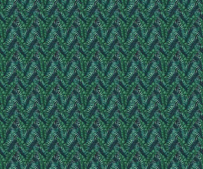 Vinylová Tapeta Akvarel Tropické palmové listy bezproblémové vzor. Vektorové ilustrace. - Grafika