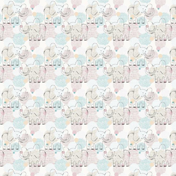 Tapete Vektor gezeichnete nahtlose geometrische Muster mit Elefanten ...