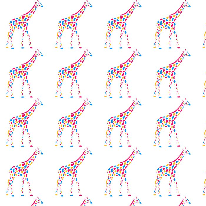 Papier peint à motifs vinyle Giraffe Afrika Savanne Bunte Farbe Gehen Muster Conception - Signes et symboles