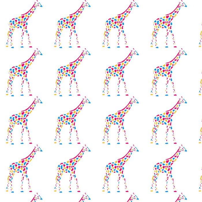 Carta da Parati a Motivi in Vinile Giraffe Afrika Savanne Bunte Farbe Gehen Muster design - Segni e Simboli