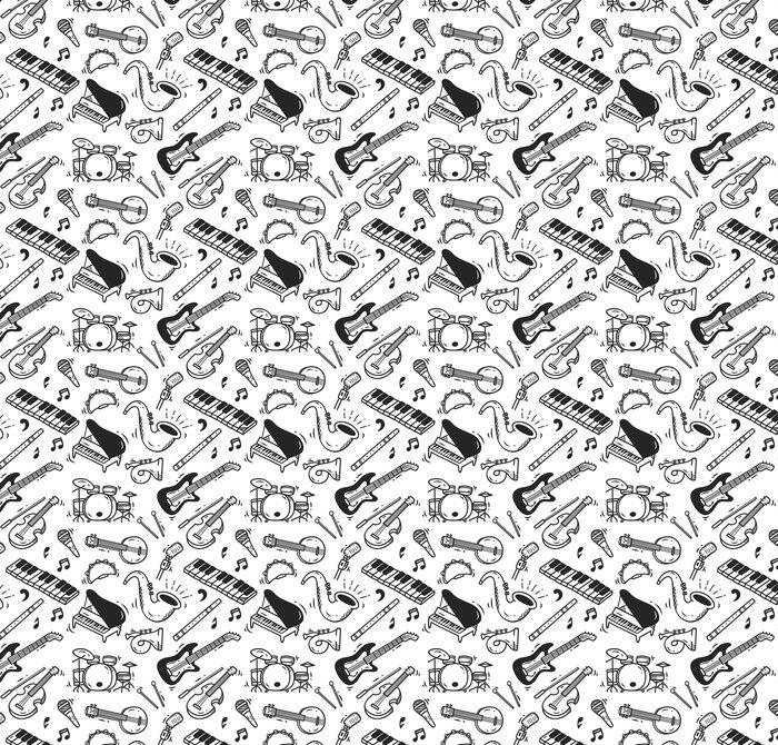 Vinylová Tapeta Hudební nástroj doodle pozadí - Koníčky a volný čas