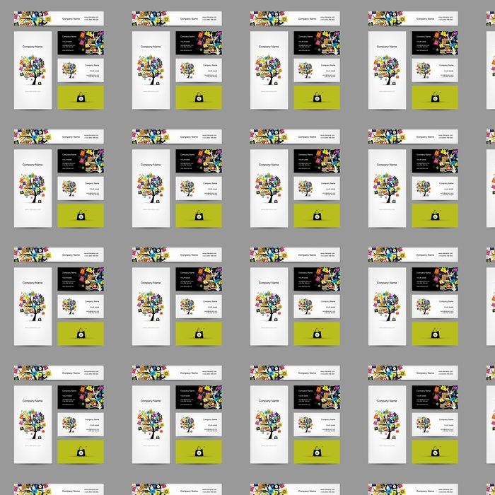 Tapete Set von Visitenkarten-Design, Einkaufen Baum mit Taschen ...