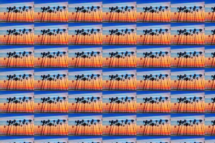 California sunset Palm tree rows in Santa Barbara Vinyl Wallpaper - America