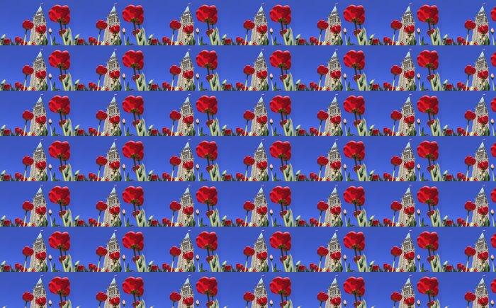 Vinylová Tapeta Kanadský parlament obklopen červených tulipánů - Amerika