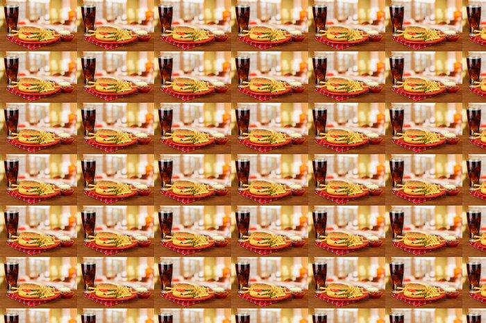 Vinylová Tapeta Chutné cheeseburger se smaženými brambory a studený nápoj, - Témata
