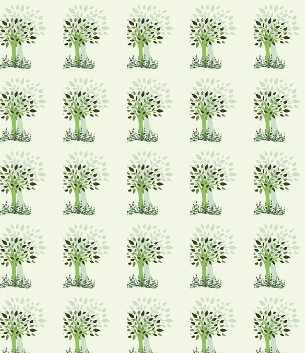 Card with stylized with tree and grass - Illustration Vinyl Wallpaper - Wonders of Nature