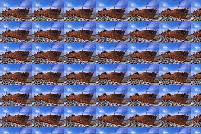 Vinil Duvar Kağıdı Yük gemisi kıyılarında bir fırtına sırasında alabora oldu -