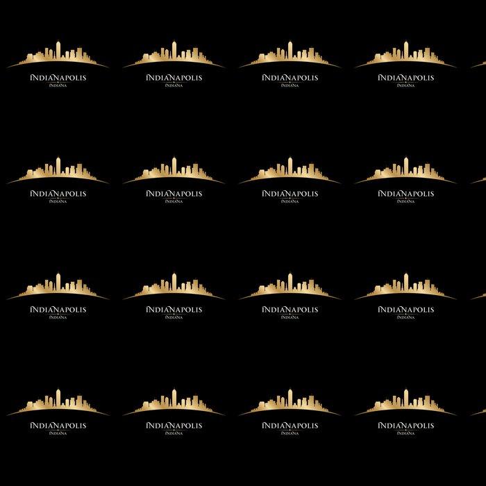 Vinyltapete Indianapolis Indiana-Stadt-Skyline Silhouette schwarzem Hintergrund - Amerika