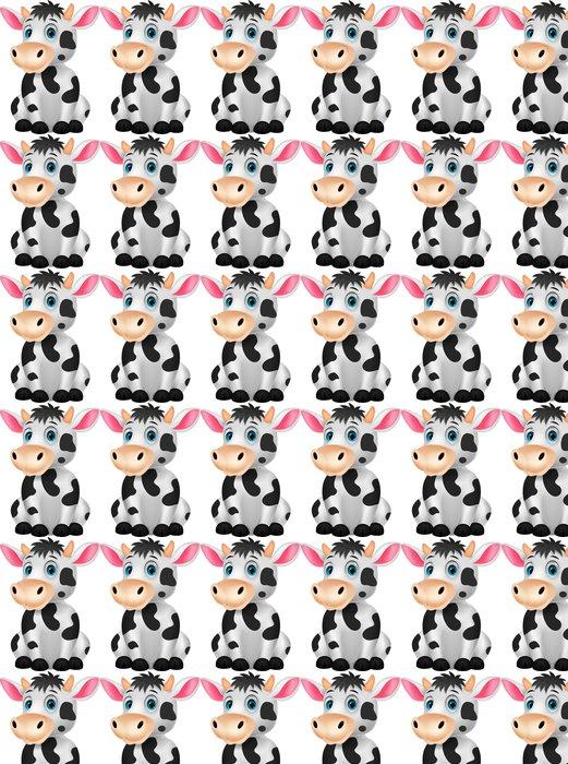 Vinylová Tapeta Roztomilé kráva kreslená posezení - Nálepka na stěny