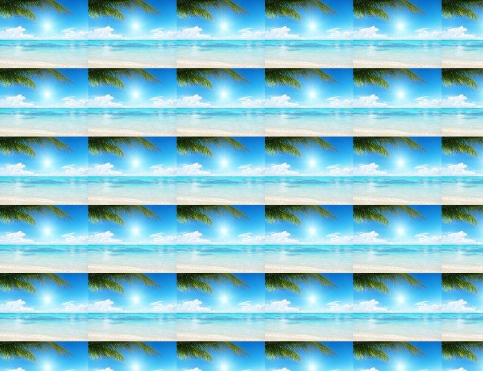 Papier peint à motifs vinyle Palmier et mer - Eau