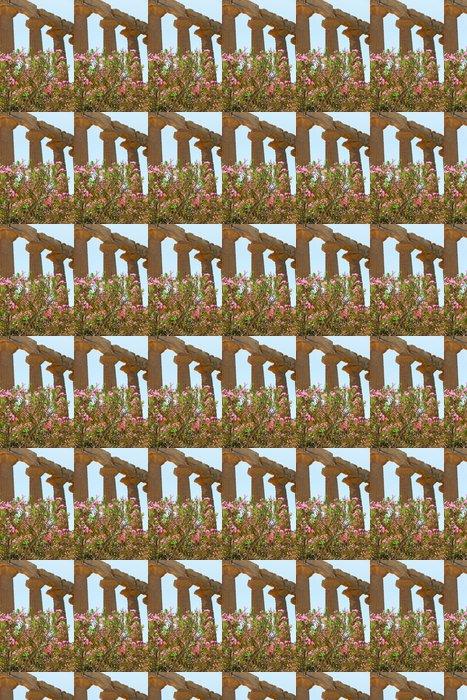 Vinylová Tapeta Oleandr květina v blízkosti antických sloupů Dorian - Evropa