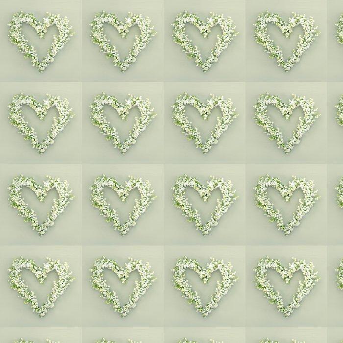Vinylová Tapeta Srdce ve tvaru květiny věnec na zeleném pozadí - Květiny