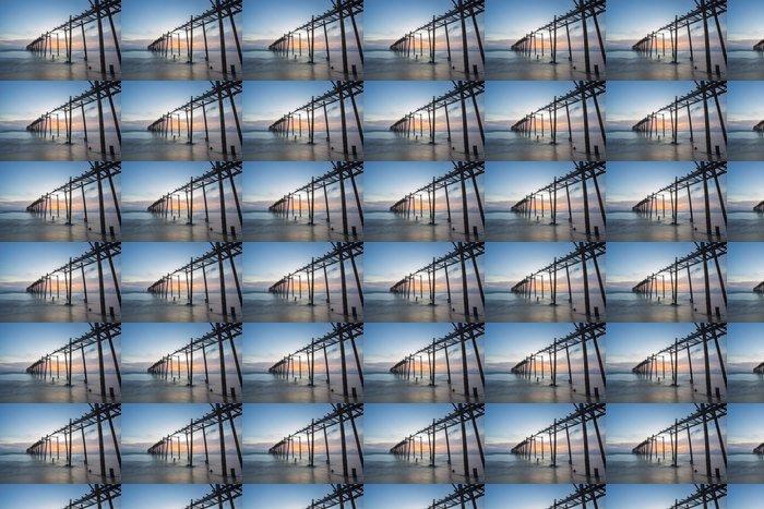 Vinylová Tapeta Most při západu slunce dřevo - Asie