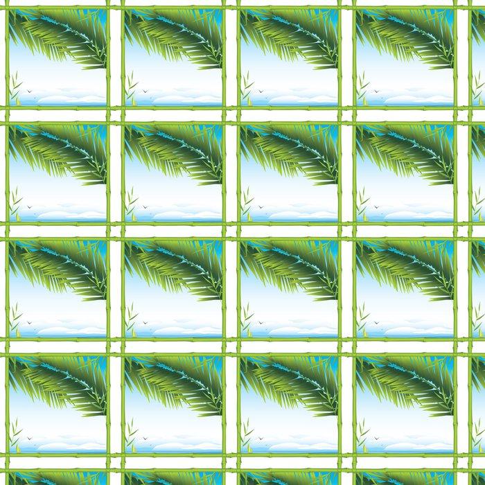 Tapete Bambus-Rahmen mit Palmzweigen und Landschaft • Pixers® - Wir ...
