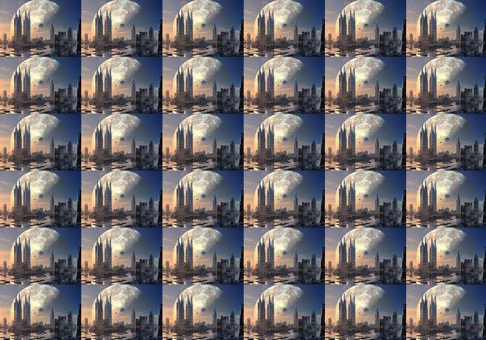 Vinylová Tapeta Létající talíře nad moderní panoráma města - Meziplanetární prostor