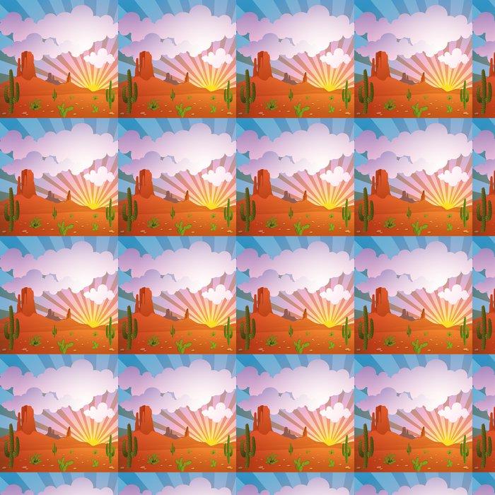 Vinylová Tapeta Vektor Pouštní krajina s horami a Cactus - Pouště