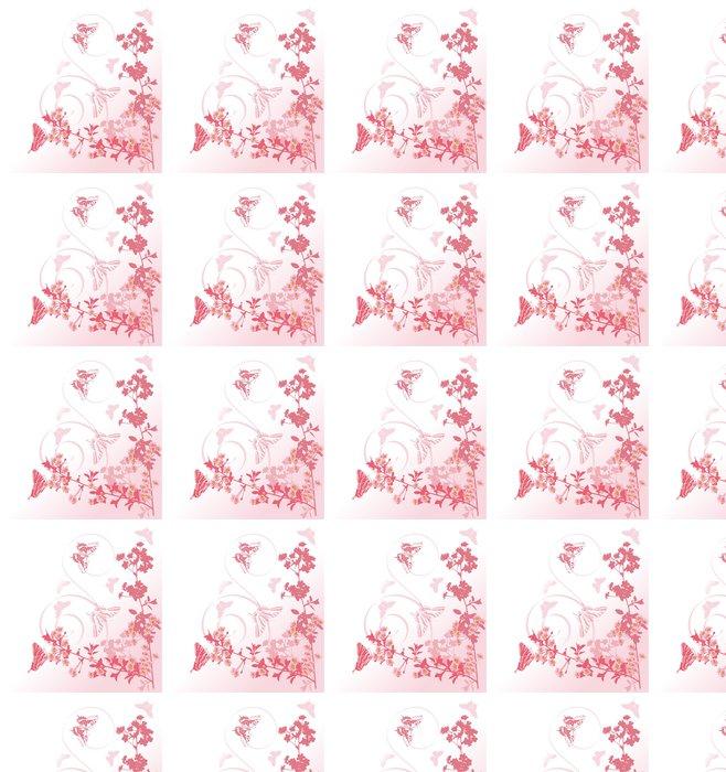 Vinylová Tapeta Růžová pobočky třešeň a motýli - Květiny
