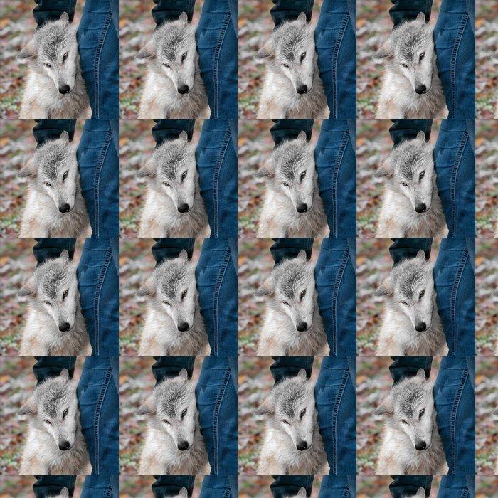 Vinylová Tapeta Blonde Vlk obecný (Canis lupus) Přijímá škrábance od Handler - Roční období