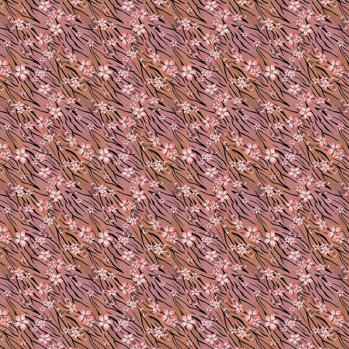 Vinylová Tapeta Růžové květy na tygra divoké Kůže bezešvé vzor - Pozadí