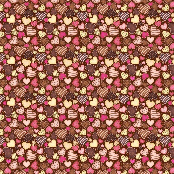 Vinil Duvar Kağıdı Form kalbinde sweetmeat ile kesintisiz çikolata kalıbı - Kafe