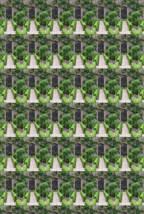 Vinylová Tapeta Secret Garden. Anglická zahrada cesta a dveře - Domov a zahrada