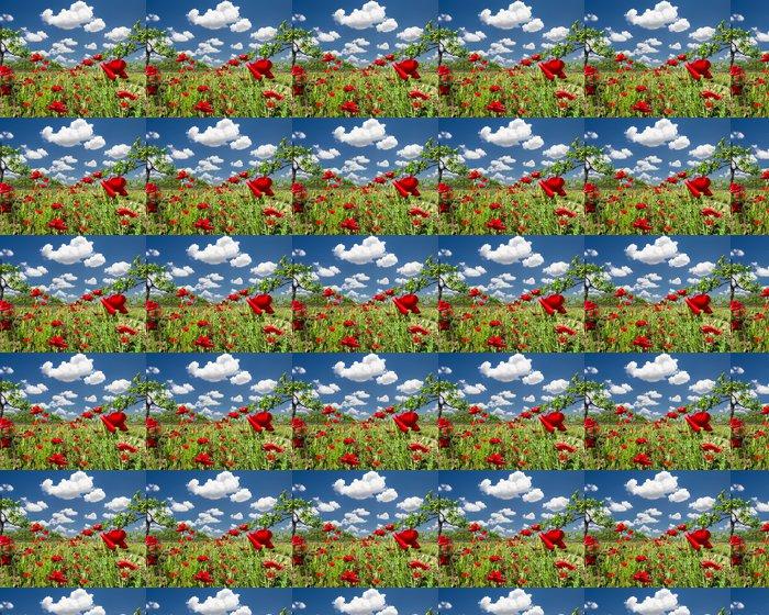 Vinylová Tapeta Red Poppies v Texas Vineyard - Venkov