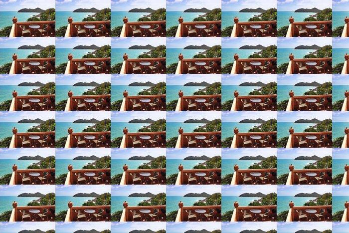 Vinylová Tapeta Terasa s krásným výhledem na moře - Voda