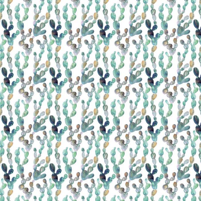 Vinylová Tapeta Cactus vzor ve stylu akvarelu - Květy a rostliny