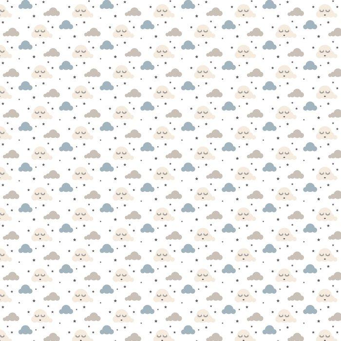 Tapete Schläfriges nahtloses Kindervektormuster der Wolken. grauer ...