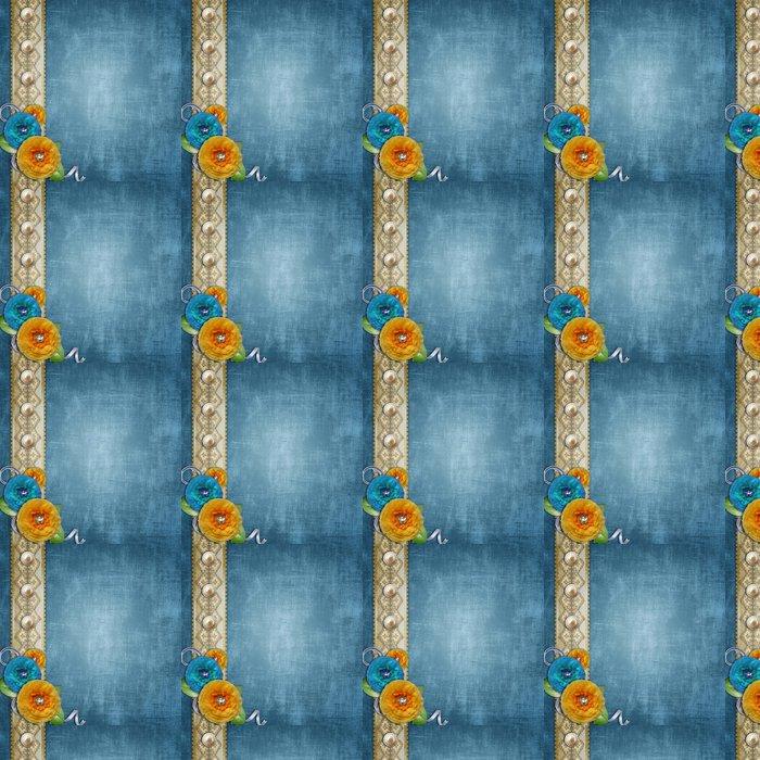Vinylová Tapeta Modrá vinobraní texturou pozadí s kyticí papírových květin - Slavnosti