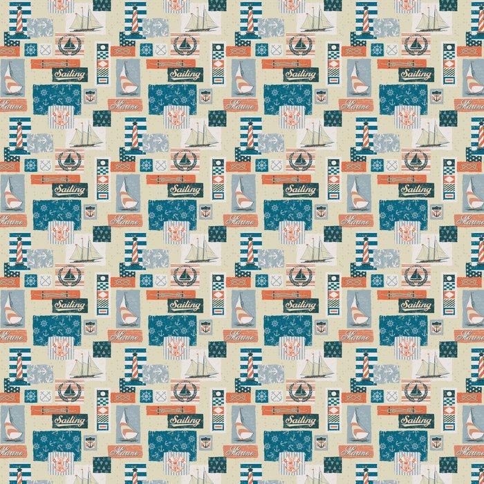 Vinylová Tapeta Námořní vector prvky patchwork - bezešvé vzor - Pozadí