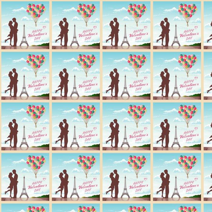 Vinylová Tapeta Valentýn karta s romantický pár v Paříži na pozadí - Mezinárodní svátky