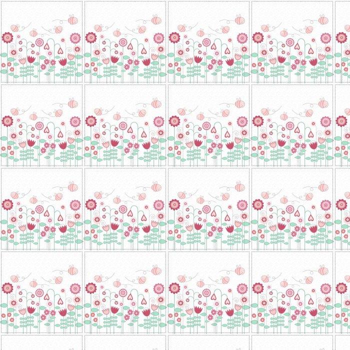 Vinylová Tapeta Krásné květiny a roztomilé včely - Ostatní Ostatní