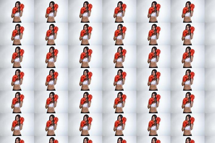Vinylová Tapeta Krásná fitness žena s červenými boxerské rukavice - Témata