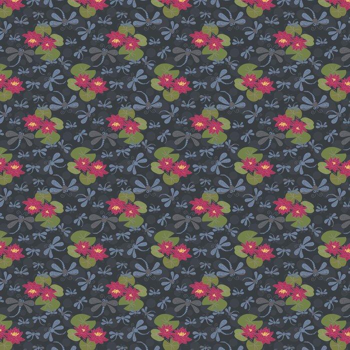 Vinylová Tapeta Bezešvé vzor s lekníny a vážky - Struktury