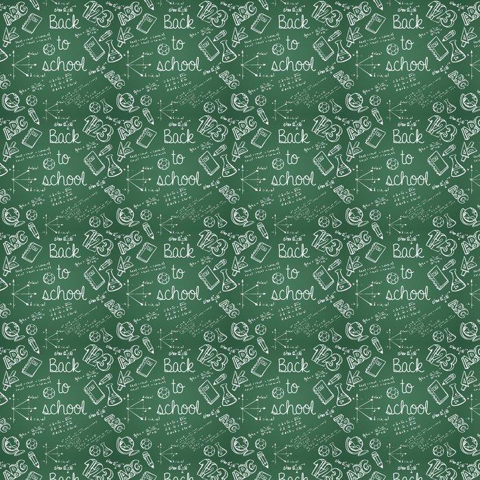 Vinylová Tapeta Vzdělání ikony zpět do školy zelené tabuli bezešvé vzor - Životní styl