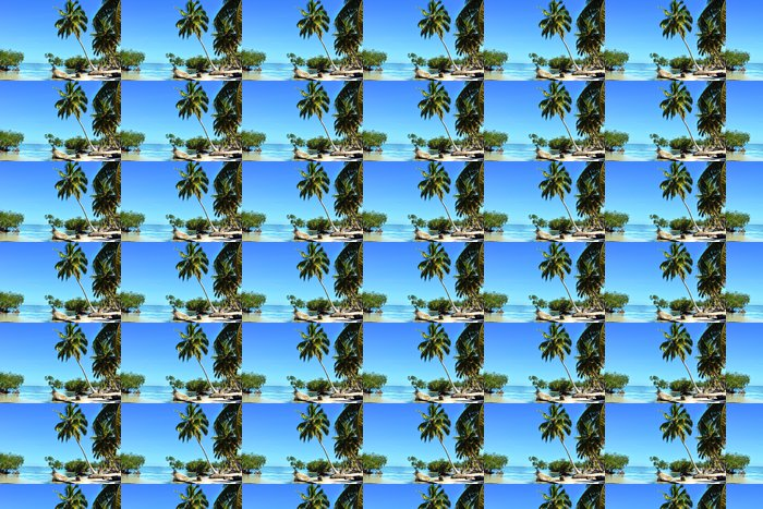 Vinylová Tapeta Tropická pláž s mangrovové porosty a palmy - Prázdniny