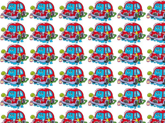 Vinylová Tapeta Cartoon mytí auta - Nálepka na stěny