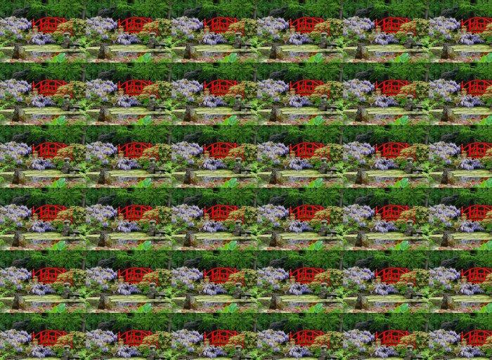 Vinylová Tapeta Modré květy Červený most - Rostliny