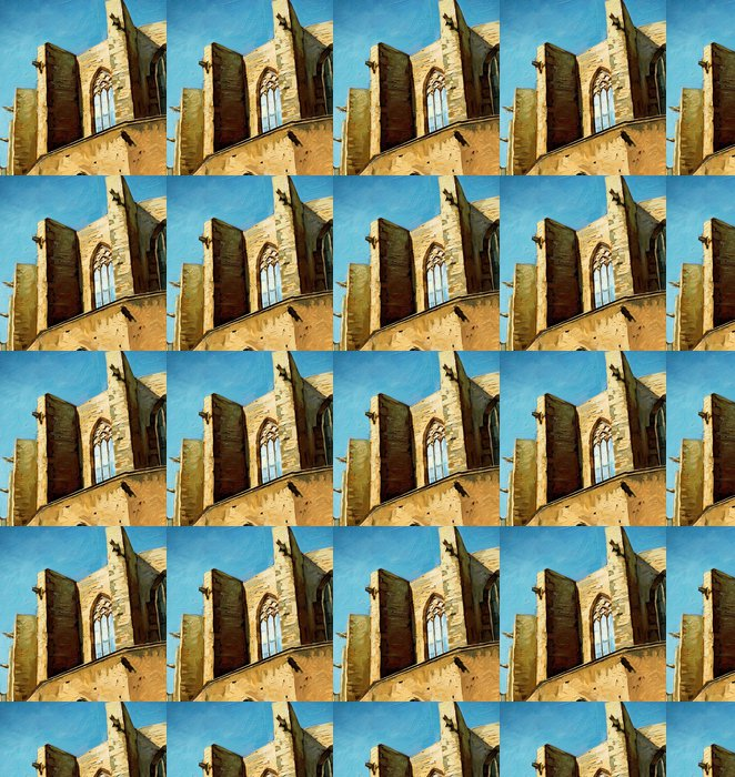 Vinylová Tapeta Kostel Santa Maria del Mar v Barceloně, malba, ilustrace - Témata