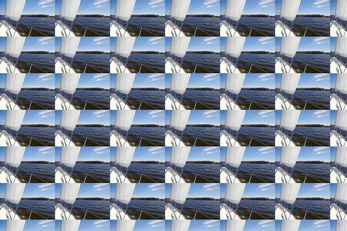 Vinylová Tapeta Yacht. Plachtění na jezeře na podzim slunečný den. Luxury Lifestyle - Voda